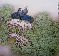 莫建成工笔花鸟画之十四——早春(1999,90cm╳90cm)