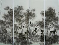 莫建成工笔花鸟画之十五——竹林仙客四条屏(2008,220cm╳66cm╳4)