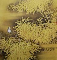 莫建成工笔花鸟画之十六——竹雀图(1994,91cm╳80cm)