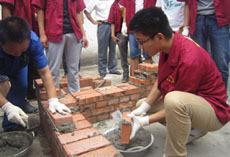 工地砌砖操作