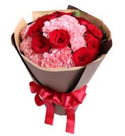 你的笑靥----13枝粉康乃馨,9枝红玫