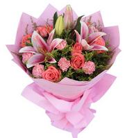 因为爱----9枝粉玫瑰,9枝粉康乃馨,