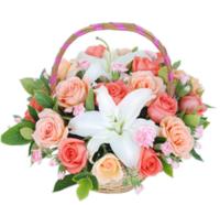 幸福时光----粉玫瑰9枝,香槟玫瑰9枝