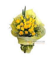 玫瑰心事----黄玫瑰22枝,剑叶2片点