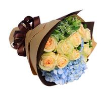 浪漫满屋----香槟玫瑰11支,浅蓝色绣