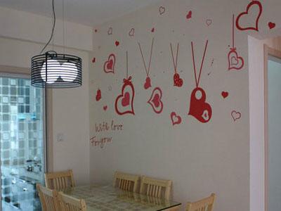 充满温馨与爱的手绘背景墙让你身心放松进餐